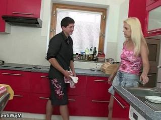 blonde  cheating  kitchen